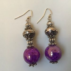 Purple and silver earrings 10 or  3/25
